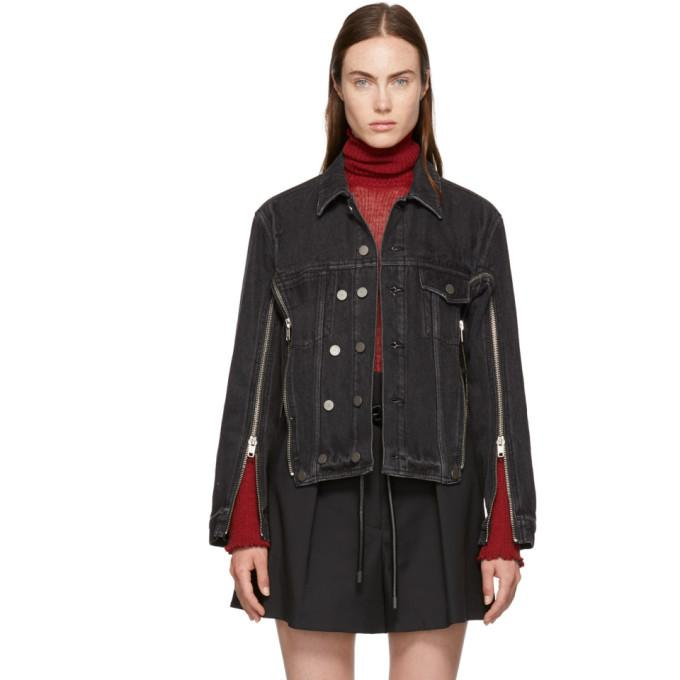 3.1 Phillip Lim Black Zippered Denim Jacket-BlackSkinny