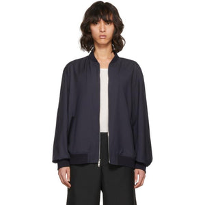 3.1 Phillip Lim Blue Relaxed Wool Bomber Jacket-BlackSkinny