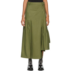 3.1 Phillip Lim Green Layered Utility Maxi Skirt-BLACKSKINNY.COM