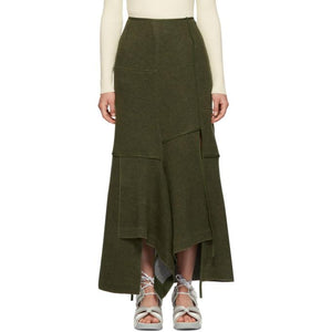 3.1 Phillip Lim Green Military Patch Wool Skirt-BLACKSKINNY.COM