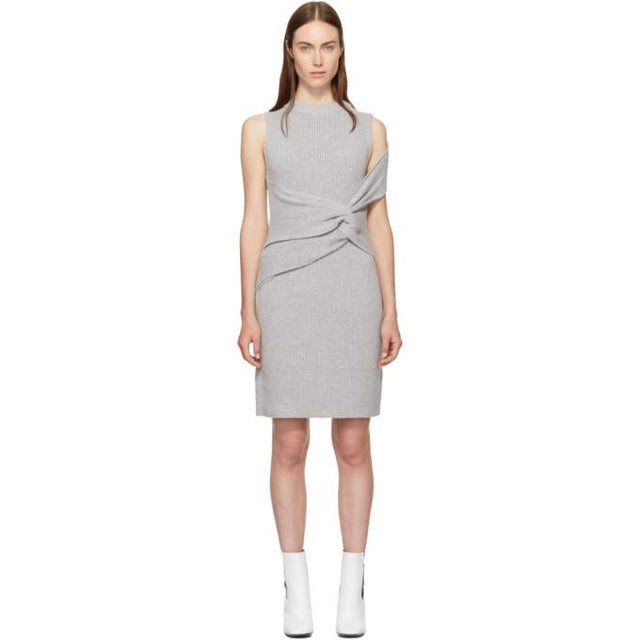 3.1 Phillip Lim Grey Draped Ribbed Twist Dress-BLACKSKINNY.COM