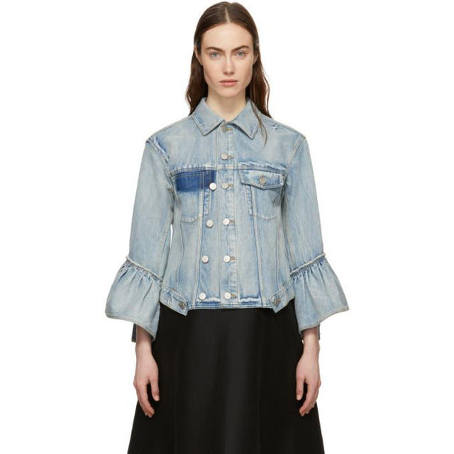 3.1 Phillip Lim Indigo Denim Ruffle Sleeves Jacket-BlackSkinny