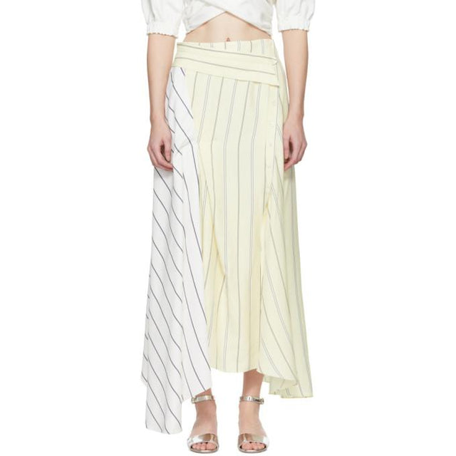3.1 Phillip Lim Ivory Pinstripe Twisted Skirt-BLACKSKINNY.COM