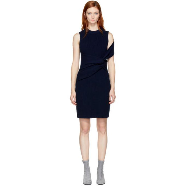 3.1 Phillip Lim Navy Draped Twist Dress-BLACKSKINNY.COM