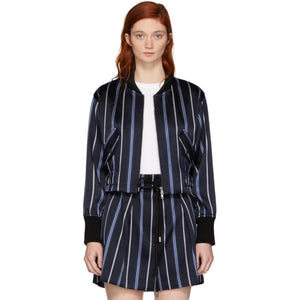 3.1 Phillip Lim Navy Striped Jacquard Bomber Jacket-BlackSkinny