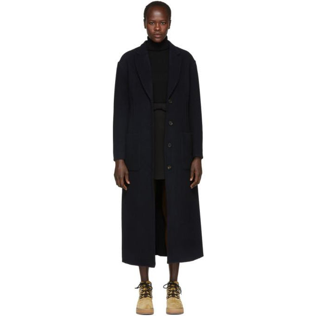 3.1 Phillip Lim Navy Wool Double-Faced Tailored Coat-BlackSkinny