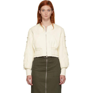 3.1 Phillip Lim Off-White Gathered Sleeve Bomber Jacket-BlackSkinny