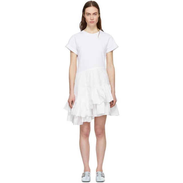 3.1 Phillip Lim White Flamenco T-Shirt Dress-BLACKSKINNY.COM