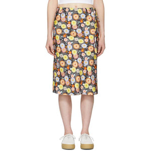 6397 Black Silk Floral Skirt-BLACKSKINNY.COM