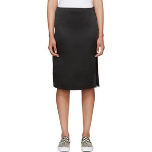6397 Black Silk Side Slit Skirt-BLACKSKINNY.COM
