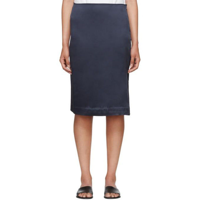 6397 Navy Silk Side Slit Skirt-BLACKSKINNY.COM