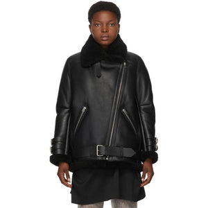 Acne Studios Black Shearling Velocite Aviator Jacket