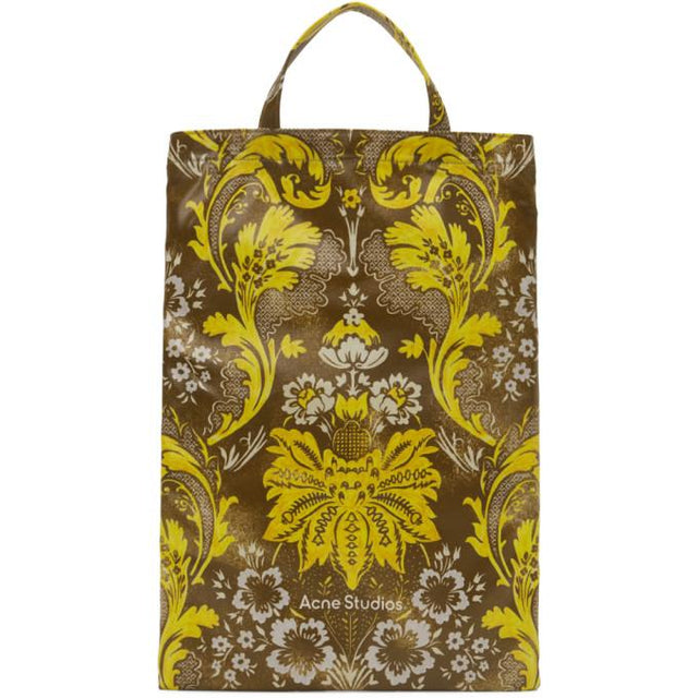 Acne Studios Brown and Yellow Floral Print Tote