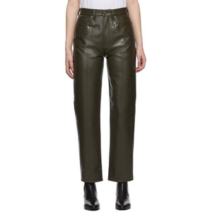 AGOLDE Khaki Recycled Leather 90s Pinch Pants