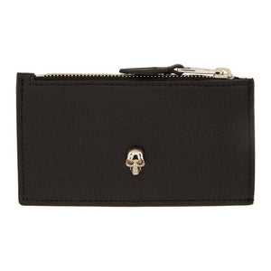 Alexander McQueen Black and Pink Small Zip Card Holder