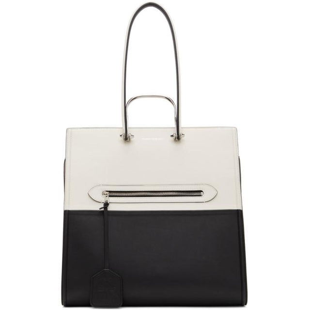 Alexander McQueen Black and White The Tall Story Tote