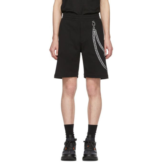 Alexander McQueen Black Chain Embroidery Shorts