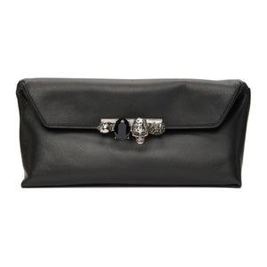 Alexander McQueen Black Four Ring Jewelled Clutch