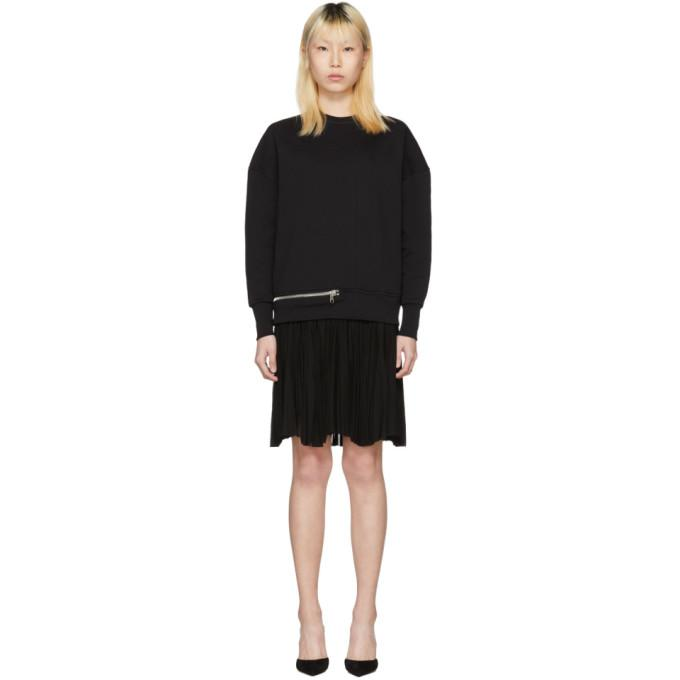 Alexander McQueen Black Zip Sweasthirt Dress-BLACKSKINNY.COM