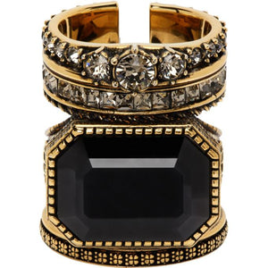 Alexander McQueen Gold Jewelled Stacked Ring