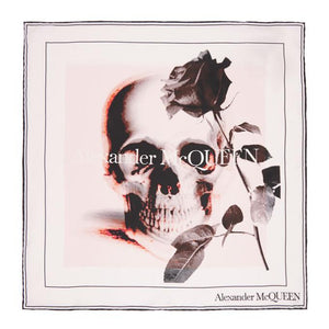 Alexander McQueen Off-White and Pink Rose Ghost Bandana
