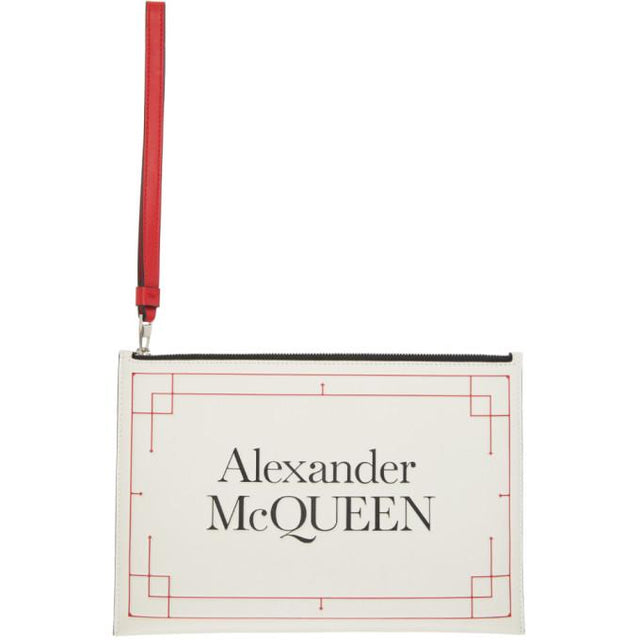 Alexander McQueen Off-White and Red Signature Pouch