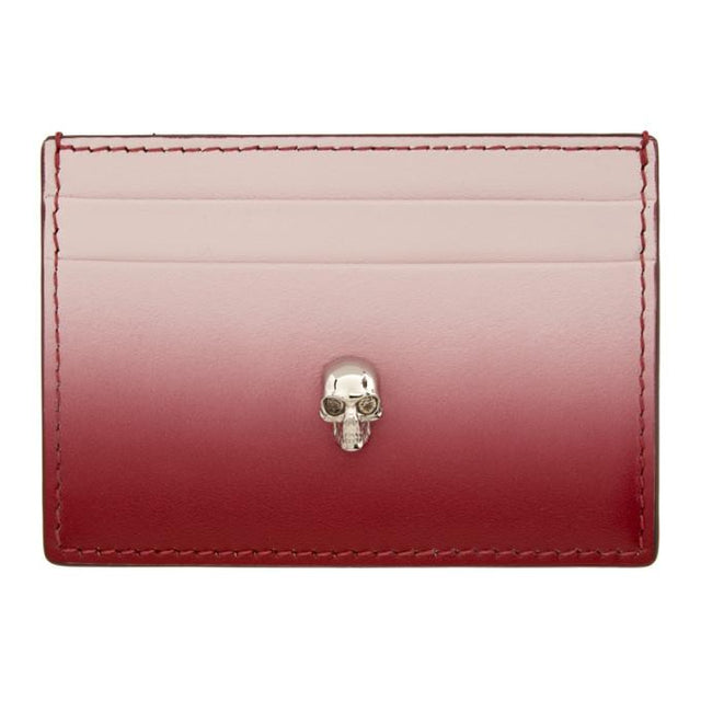 Alexander McQueen Pink and Red Skull Card Holder