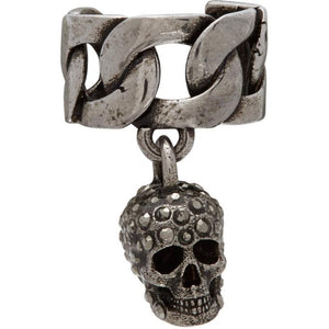 Alexander McQueen Silver Chain and Skull Ear Cuff