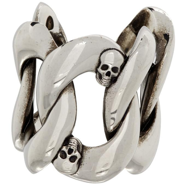 Alexander McQueen Silver Chain and Skull Ring