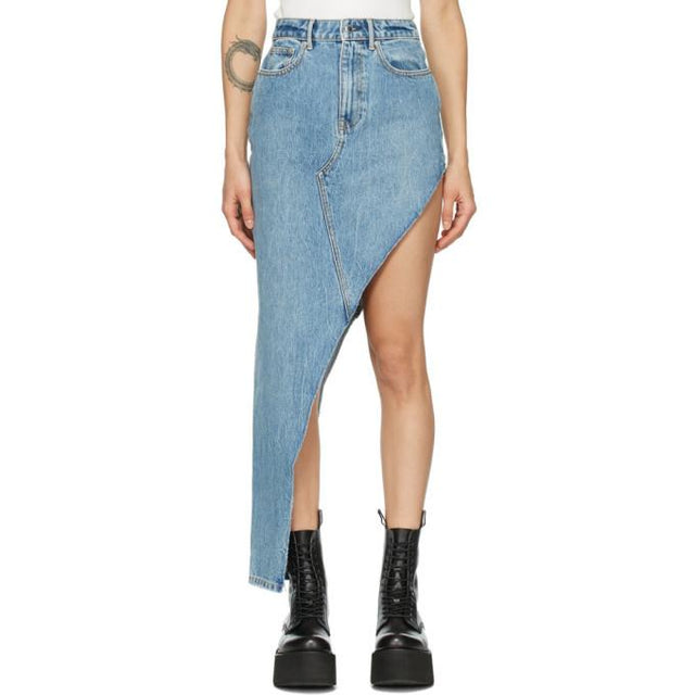 Alexander Wang Blue Denim Asymmetric Skirt