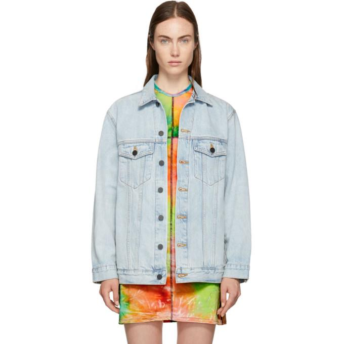 Alexander Wang Blue Oversized Denim Daze Jacket-BlackSkinny