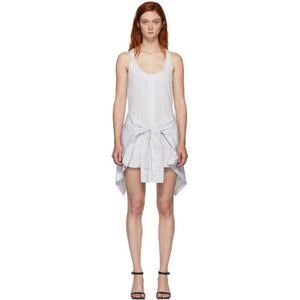 Alexander Wang White and Grey Tie Front Bodysuit