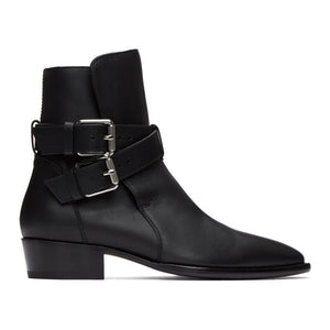AMIRI Black Two-Buckle Boots