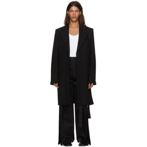 Ann Demeulemeester Black Wool Trench Coat-BlackSkinny