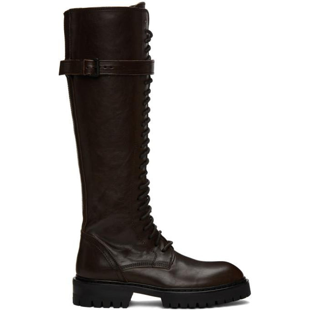 Ann Demeulemeester SSENSE Exclusive Brown Leather Lace-Up Boots