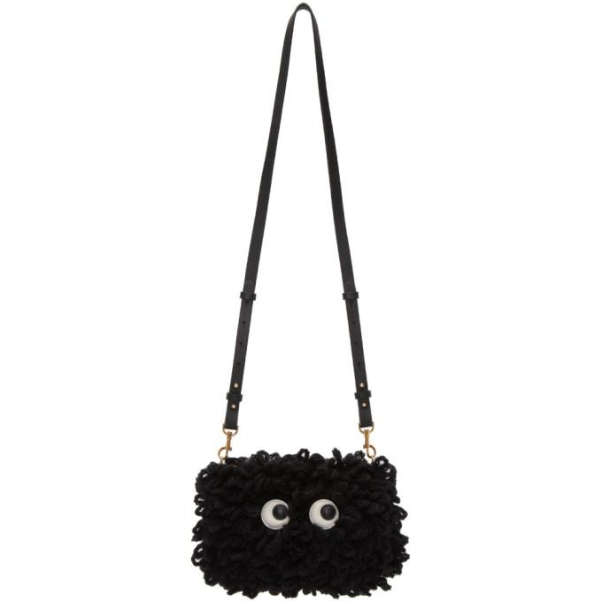 Anya Hindmarch Black Shag Creeper Eyes Crossbody Bag-Bags-BLACKSKINNY.COM