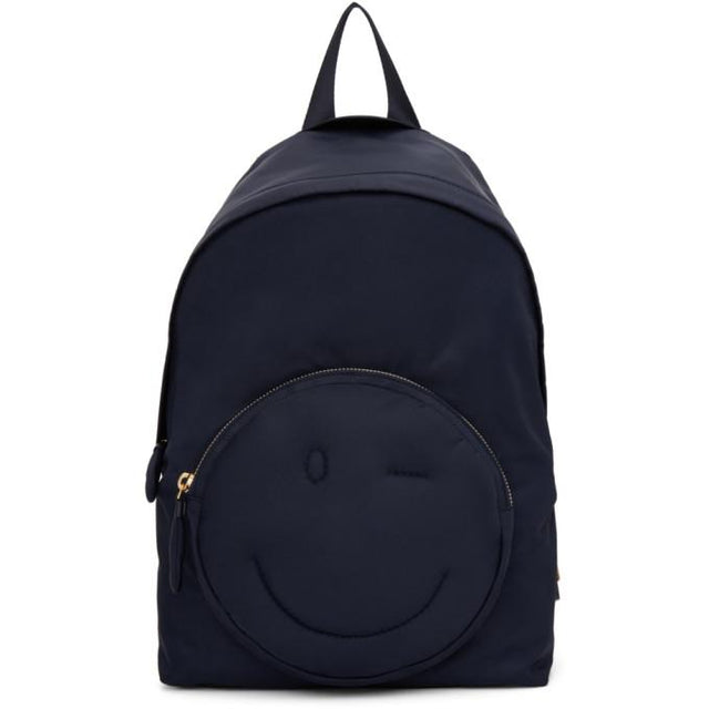 Anya Hindmarch Navy Chubby Wink Backpack-Bags-BLACKSKINNY.COM