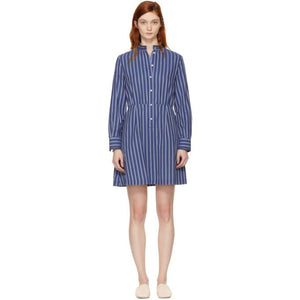 A.P.C. Blue Striped Lili Dress-BLACKSKINNY.COM