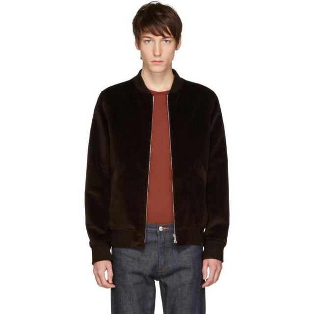 A.P.C. Brown Velvet Barrett Bomber Jacket-BlackSkinny