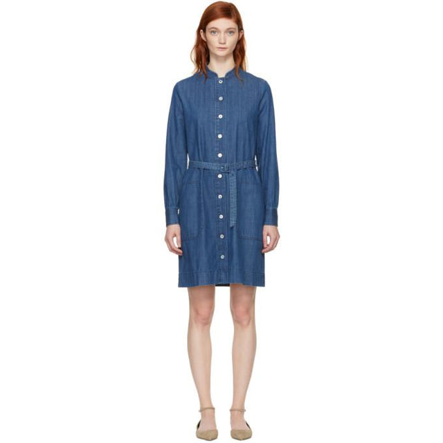A.P.C. Indigo Denim Jane Dress-BLACKSKINNY.COM
