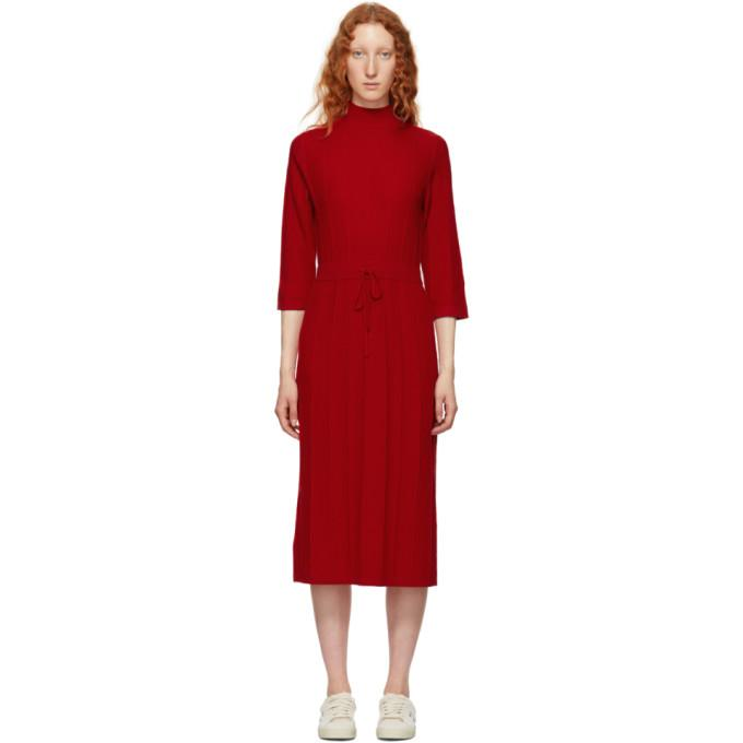 A.P.C. Red Viviane Knit Dress-BLACKSKINNY.COM