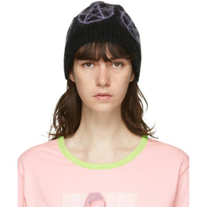 Ashley Williams SSENSE Exclusive Black and Purple Mohair Pentagram Beanie