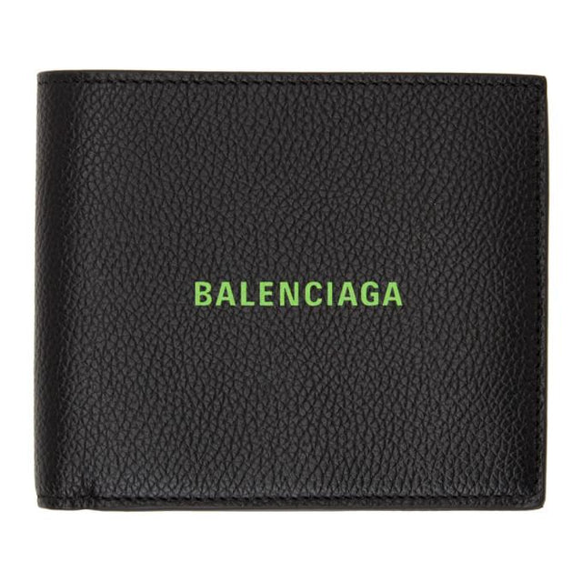Balenciaga Black and Green Square Bifold Wallet
