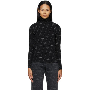 Balenciaga Black and Grey Allover Logo Turtleneck
