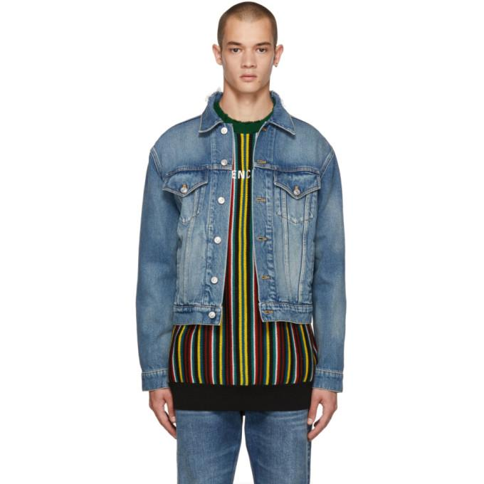 Balenciaga Blue Denim Campaign Logo Jacket-BlackSkinny