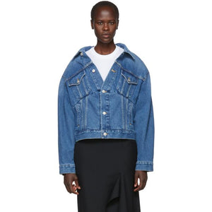 Balenciaga Blue Denim Swing Jacket-BlackSkinny