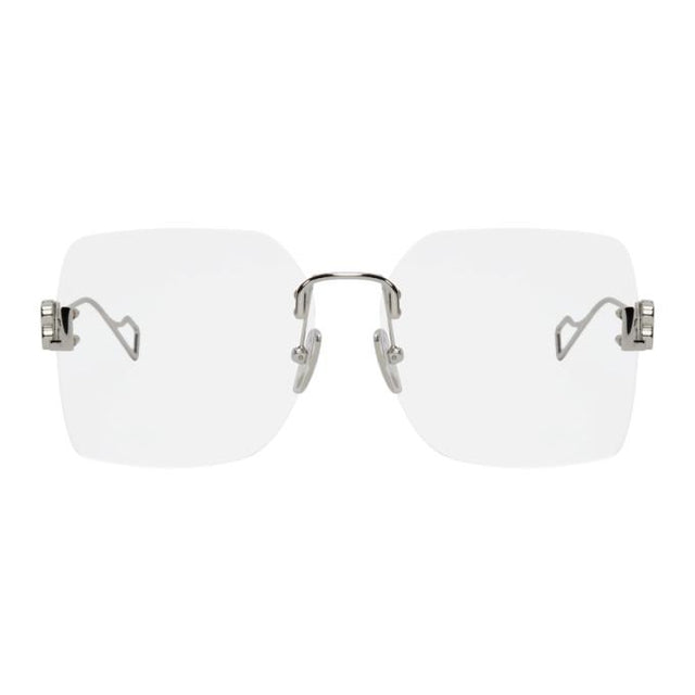 Balenciaga Silver Light Rimless Glasses