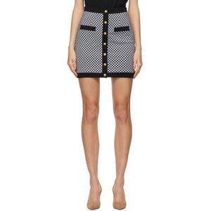 Balmain Black and White Gingham Miniskirt