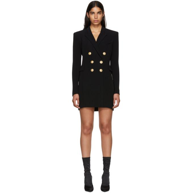 Balmain Black Cross-Over Six-Button Dress-BLACKSKINNY.COM