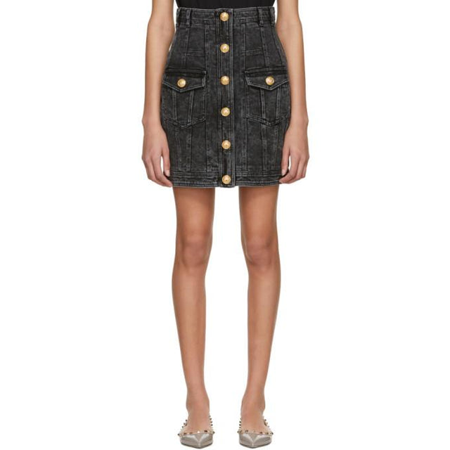 Balmain Black Denim Six-Button Miniskirt-BLACKSKINNY.COM